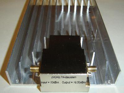 24GHz PA-Baustein auf Kühlkörper montiert